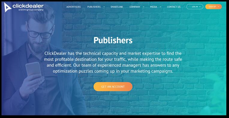 Clickdealer publisher page