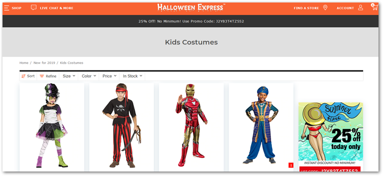 Halloween Express homepage