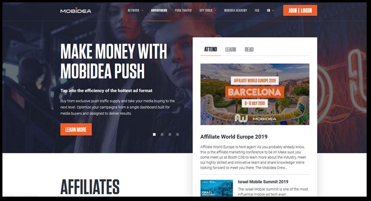 Mobidea network homepage