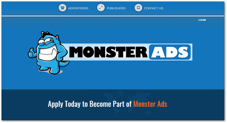 Monster Ads network homepage