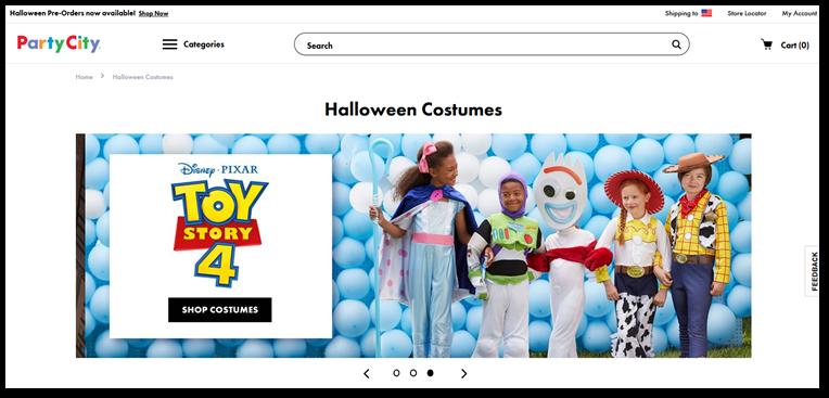 PartyCity homepage