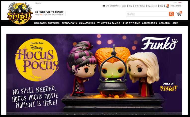 Spirit Halloween homepage