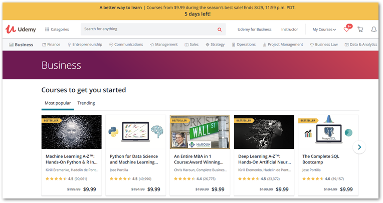 screenshot of Udemy course page