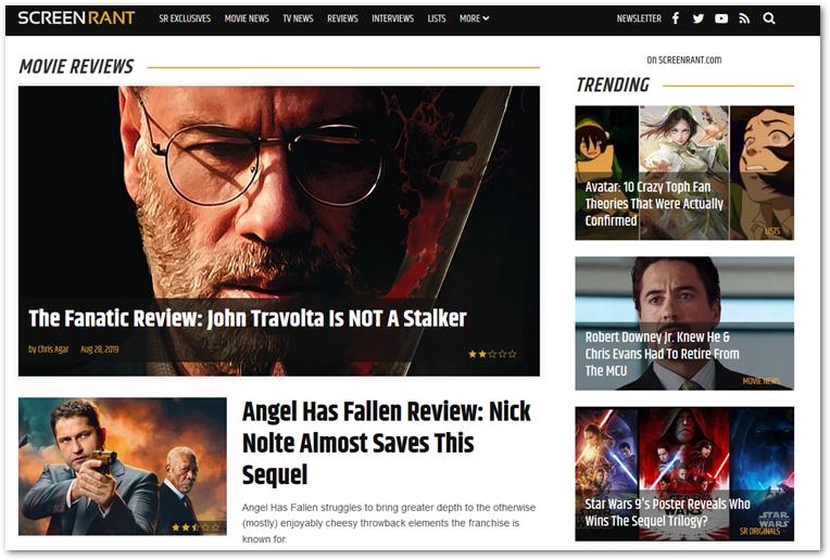 screenshot of Screen Rant's film review section.