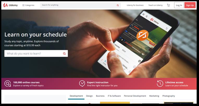 Udemy homepage screenshot