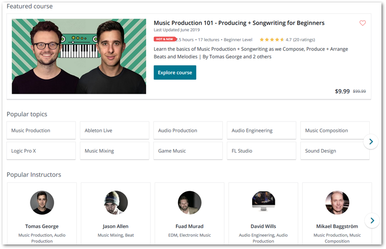 Screenshot of music production category on Udemy