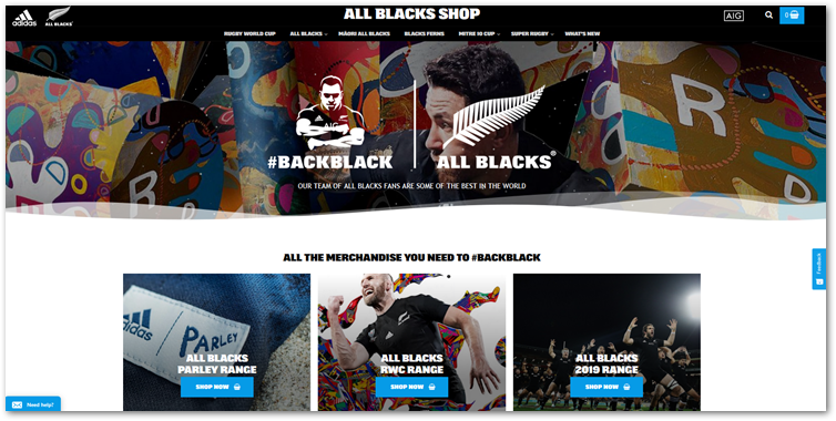 screenshot of example Woocommerce site AllBlacks