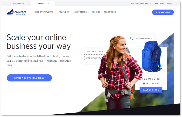 Bigcommerce essentials online store creator page.