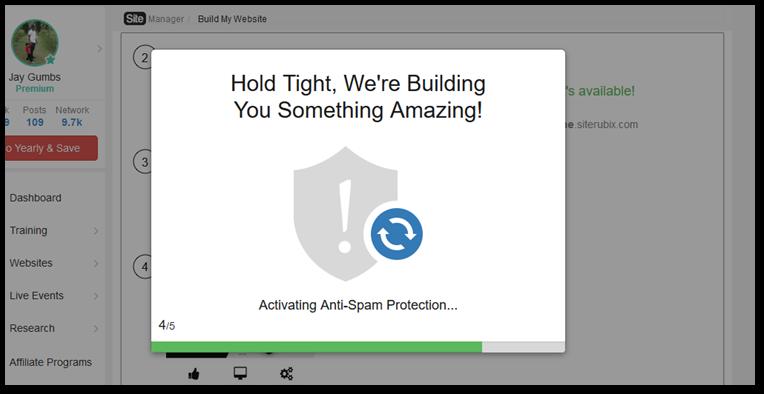 Screenshot: building the website.