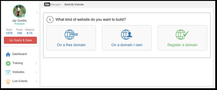 Screenshot of choosing domain type to build website with SiteRubix