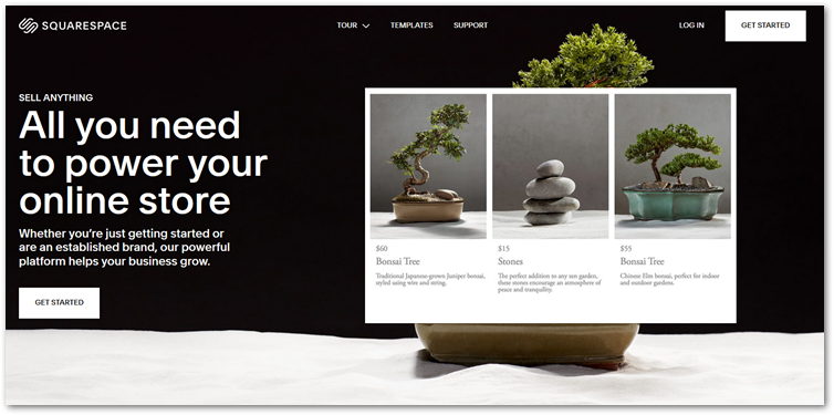 Squarespace online store creator page