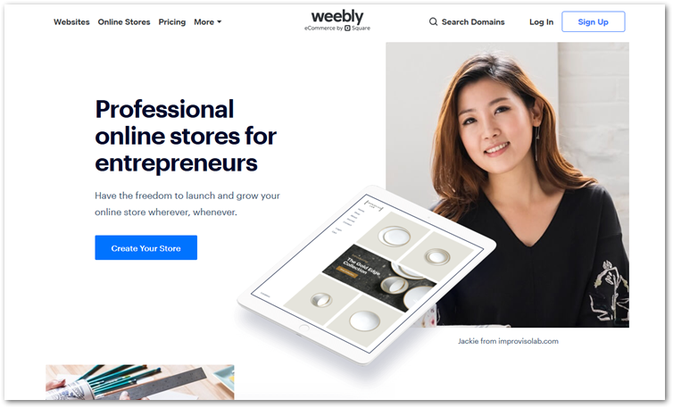 Weebly ecommerce page