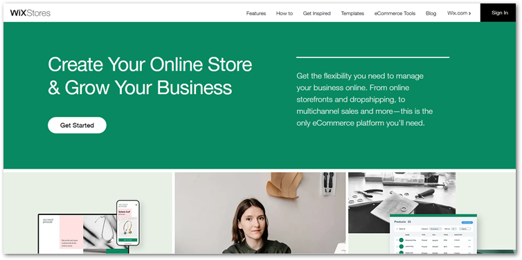 Wix Stores page