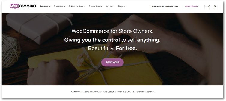 Woocommerce online store customer page