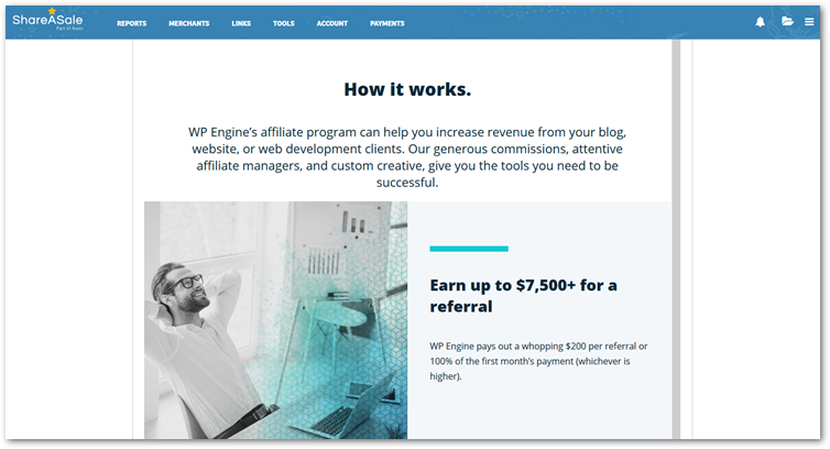 Screenshot of WPEngine Affiliate Program on Shareasale
