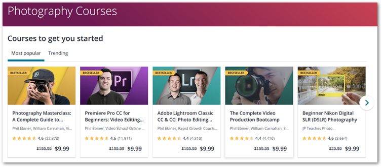 Udemy photography courses screenshot