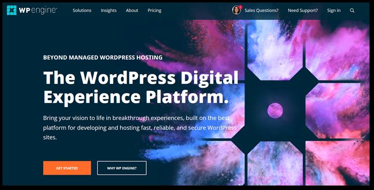 WP Engine homepage image