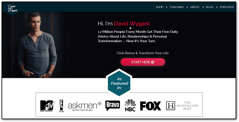 David Wygant homepage screenshot