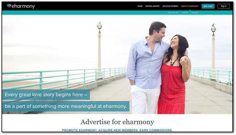 eHarmony affiliate program page