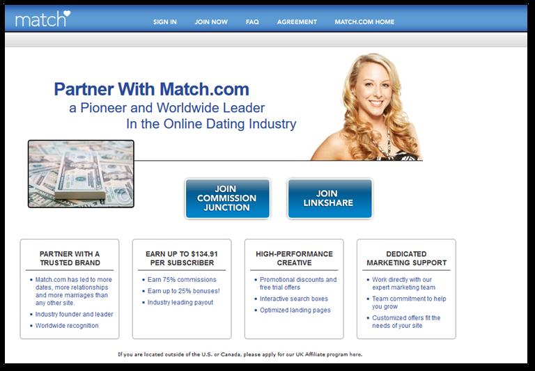 Match.com affiliate program page