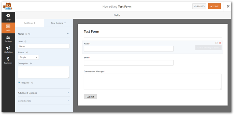 Test form using WP Forms