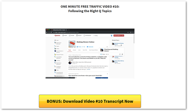 One Minute Free Traffic video and download transcript button