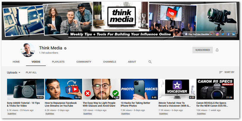 Screenshot of Think Media YouTube Channel