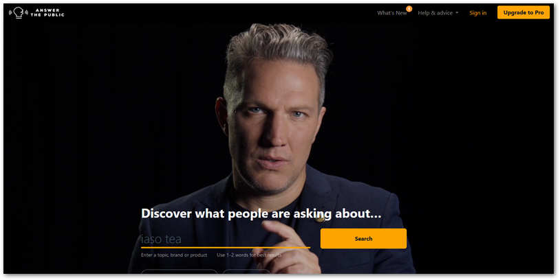 AnswerThePublic homepage screenshot