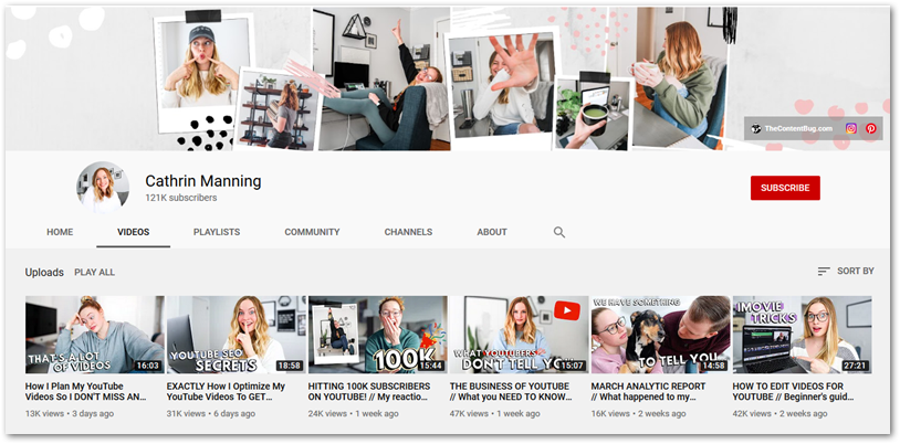 Screenshot of Cathrin Manning YouTube channel