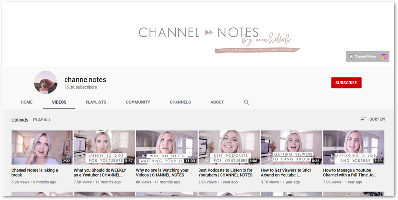 Screenshot of Channel Notes YouTube channel