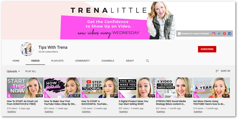 Screenshot of Tips with Trena YouTube channel