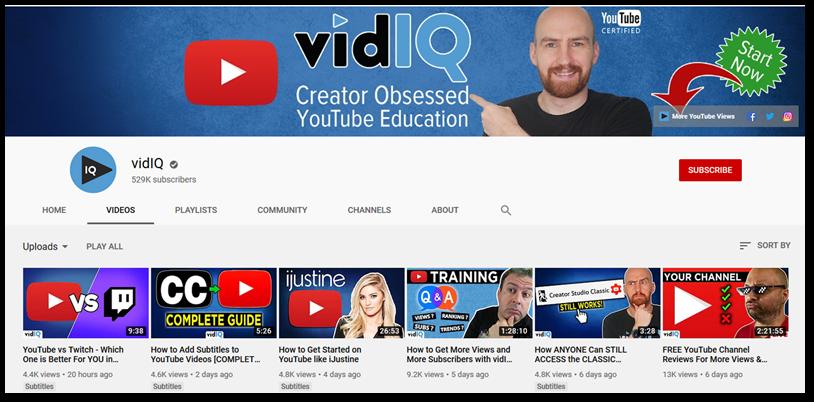 Screenshot of vidIQ YouTube channel