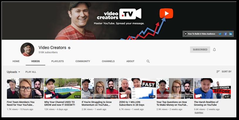 Screenshot of Video Creators TV YouTube channel