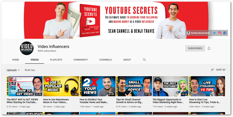 Screenshot of Video Influencers YouTube channel