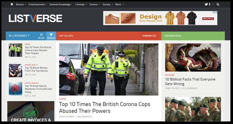 Listverse homepage screenshot