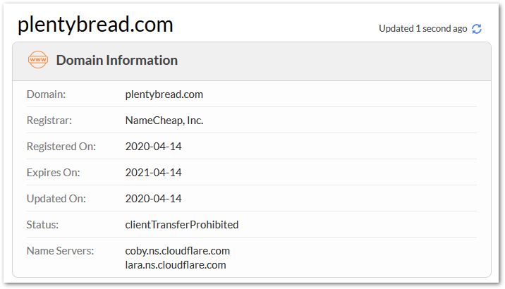 Screenshot of PlentyBread.com domain registration info