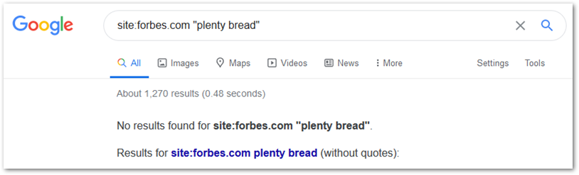 Screenshot of Google search for mention of plenty bread on Forbes.com