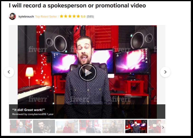 screenshot of kylebrauch spokesperson gig on Fiverr.