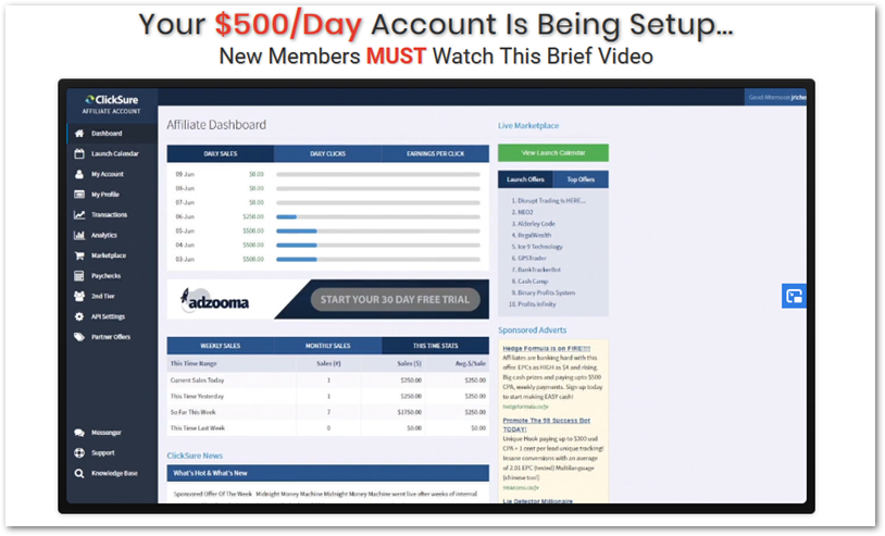 My Commission Bootcamp screenshot of Clicksure Account.
