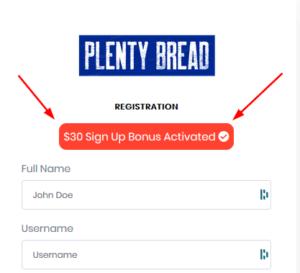 screenshot of Plenty Bread registration form showing $30 signup bonus