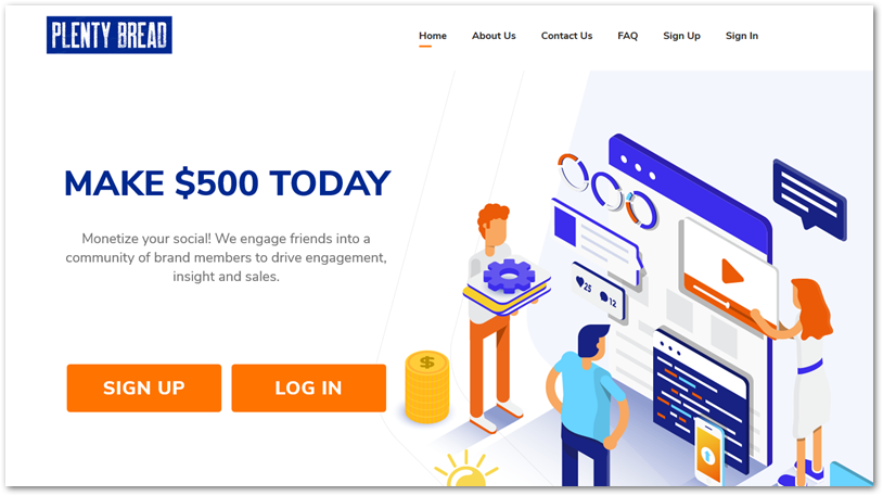 Screenshot of Plenty Bread homepage