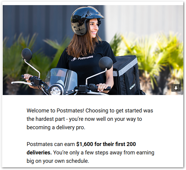 Screenshots from Postmates welcome email with photo and text