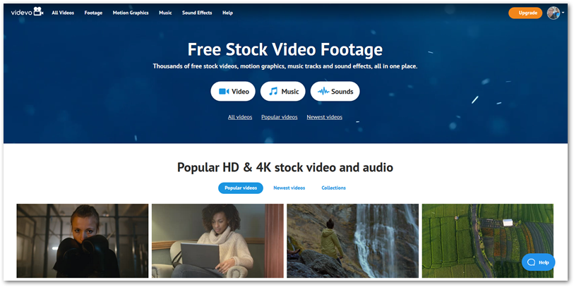 Videvo for free stock video footage website