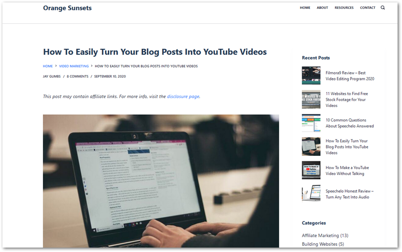 """Screenshot of blog post """"How to Easily Turn Your Blog Posts Into YouTube videos"""" from OrangeSunsets.com"""
