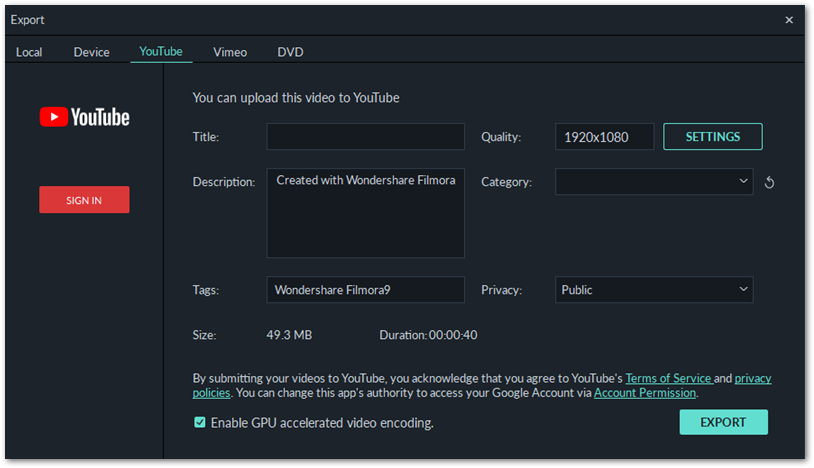 Filmora Export to YouTube settings panel