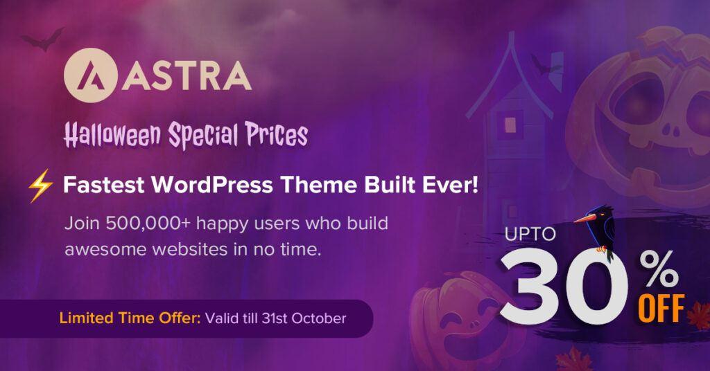 Astra Halloween deal banner