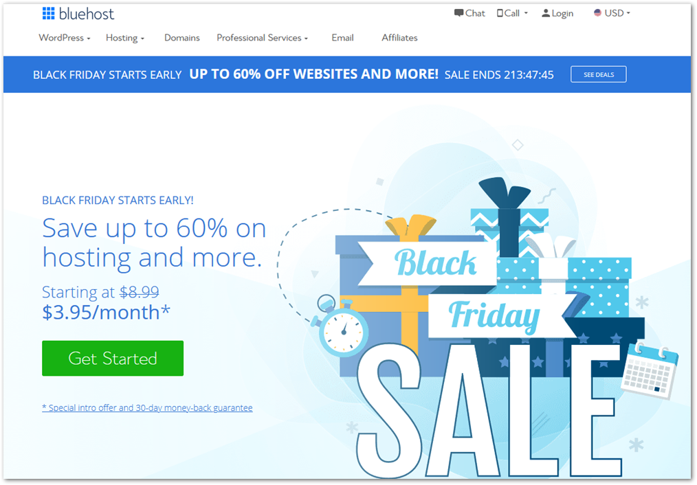 Bluehost Black Friday 2020 deal page