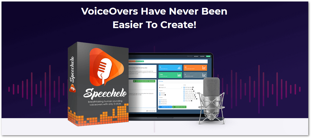 Speechelo product box and demo with microphone.
