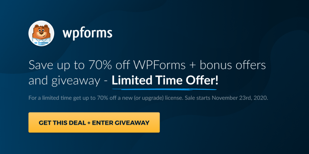 WP Forms Black Friday 2020 banner