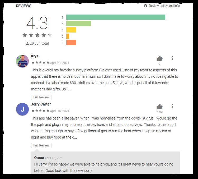 Qmee app reviews screenshot on Playstore